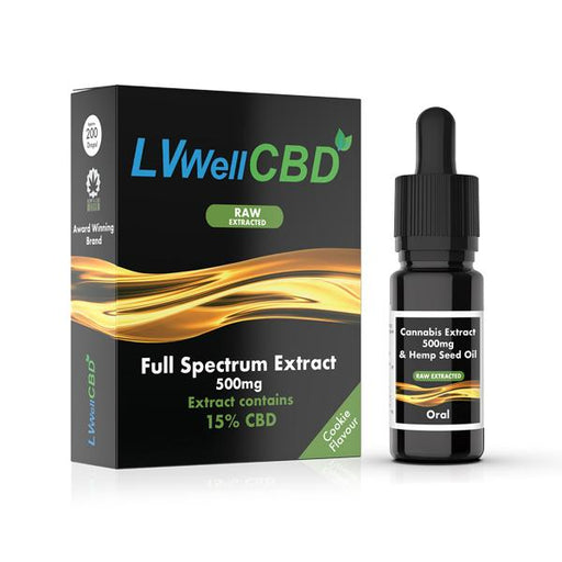 LVWELL CBD Raw Extracted Full Spectrum Extract Cookie Flavour 10ml