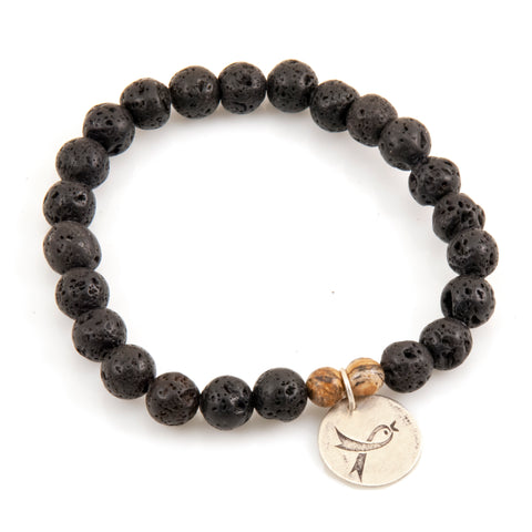 COLLEEN'S DREAM LAVA ROCK CHARM BRACELET - GOLD