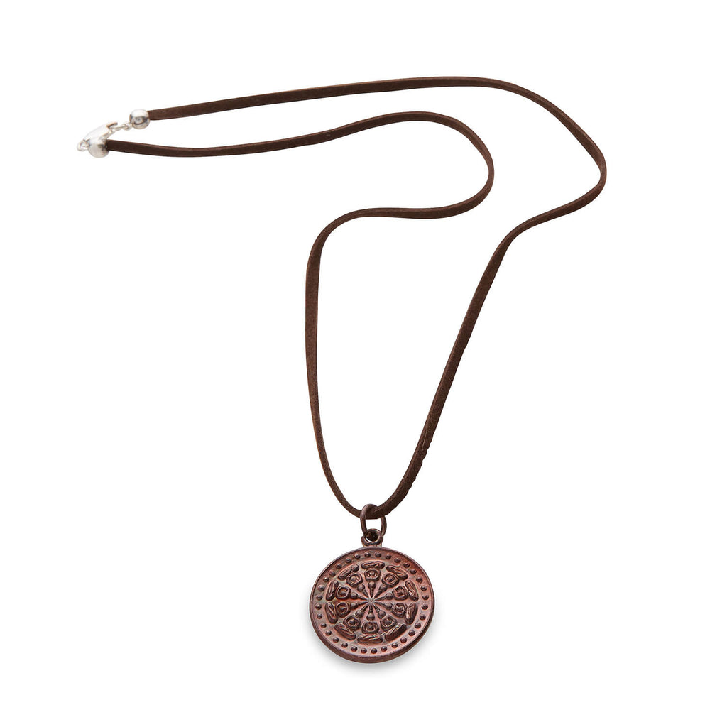 LEATHER DHARMA WHEEL NECKLACE