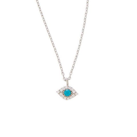 PAVE EVIL EYE NECKLACE - SILVER