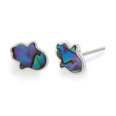 ABALONE HAMSA EARRINGS - DARK