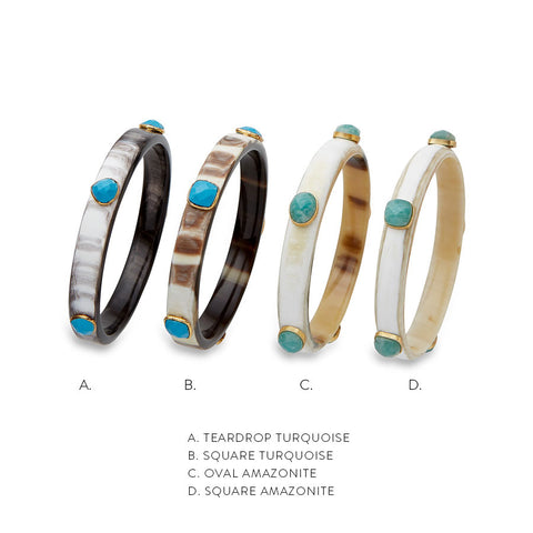 *LIMITED EDITION*HORN BANGLES WITH GEMSTONE ACCENTS