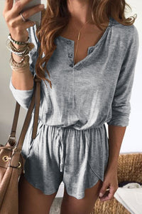 Laceyou Casual Drawstring Blends Romper
