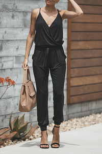 Laceyou Casual V Neck Black Cotton Blends One-piece Jumpsuit