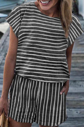 Laceyou Striped Loose Romper
