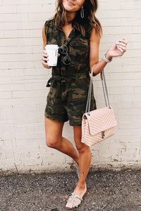Laceyou Camouflage Printed Romper