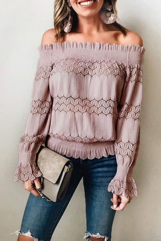 Laceyou Flounce Design Dusty Pink Blouse