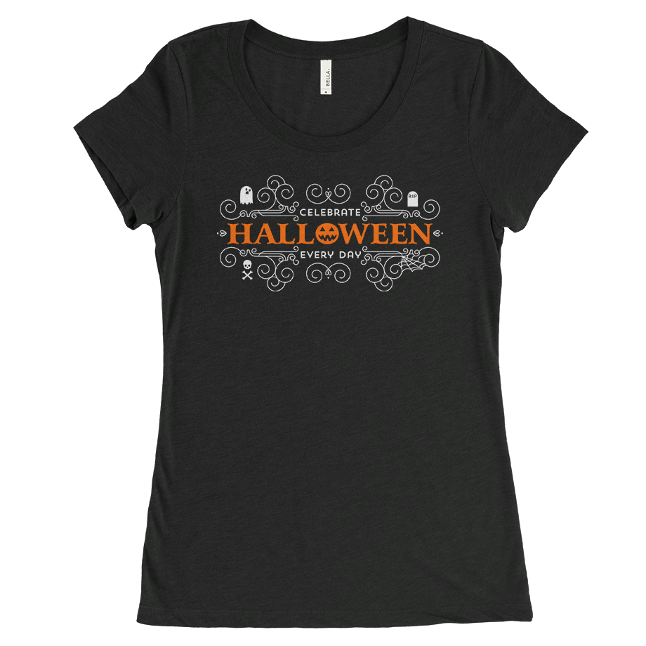 Celebrate Halloween Every Day short sleeve shirt (Fitted/Womens)