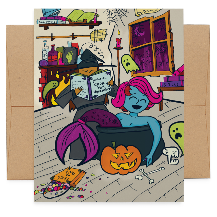 Mermaid & Witch Halloween greeting card