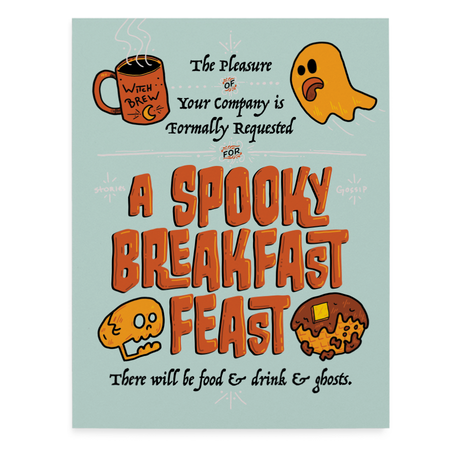 Spooky Breakfast Invitation greeting card