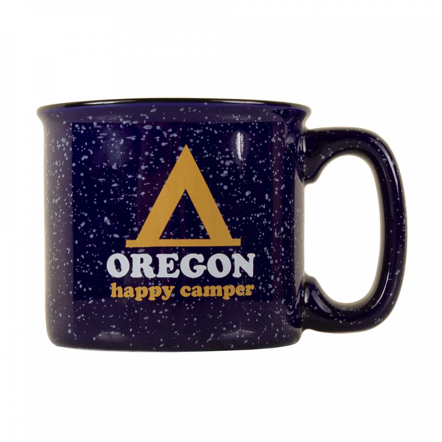"Large navy speckled mug. ""Oregon Happy Camper"" and the tent logo displayed on the face."