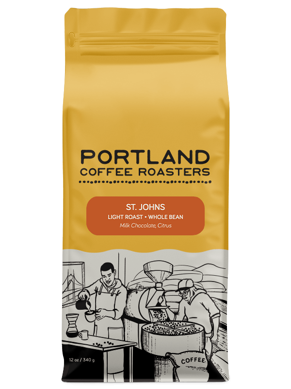12 ounce bag of light roast, whole bean coffee that has milk chocolate and citrus.