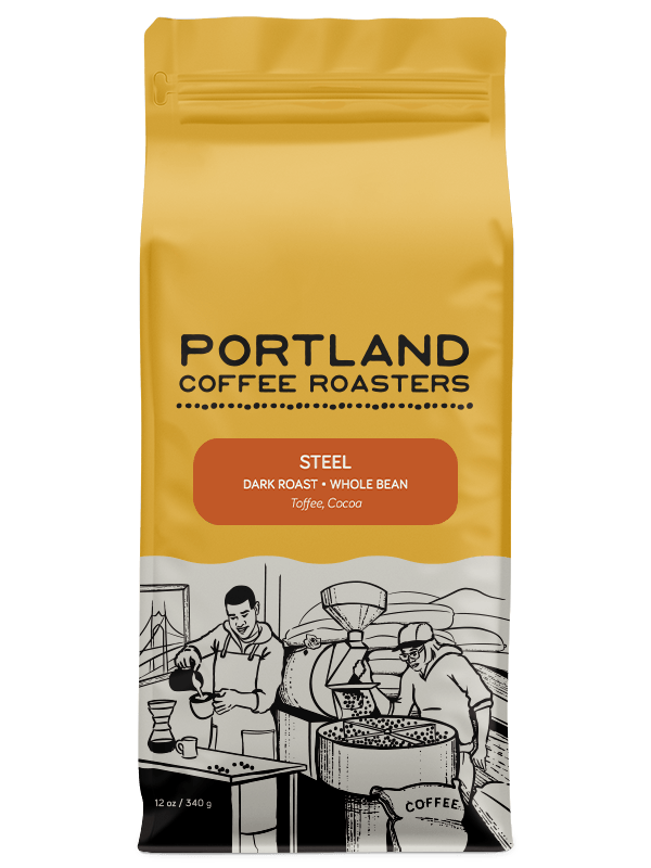 12 ounce bag of dark roast, whole bean coffee that has toffee and cocoa.