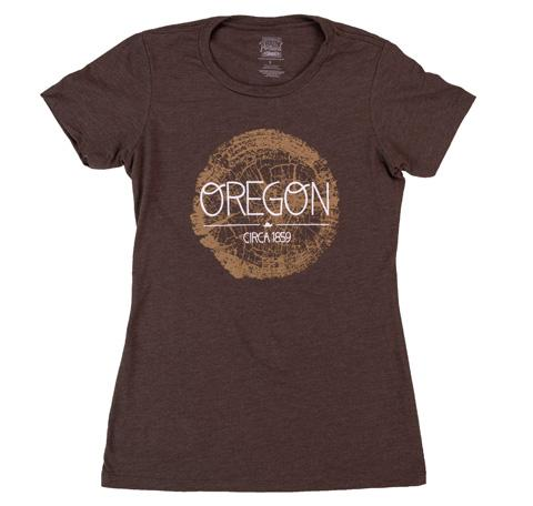 Brown Women's tee with wooden crosscut graphic reads Oregon Circa 1859 on top.