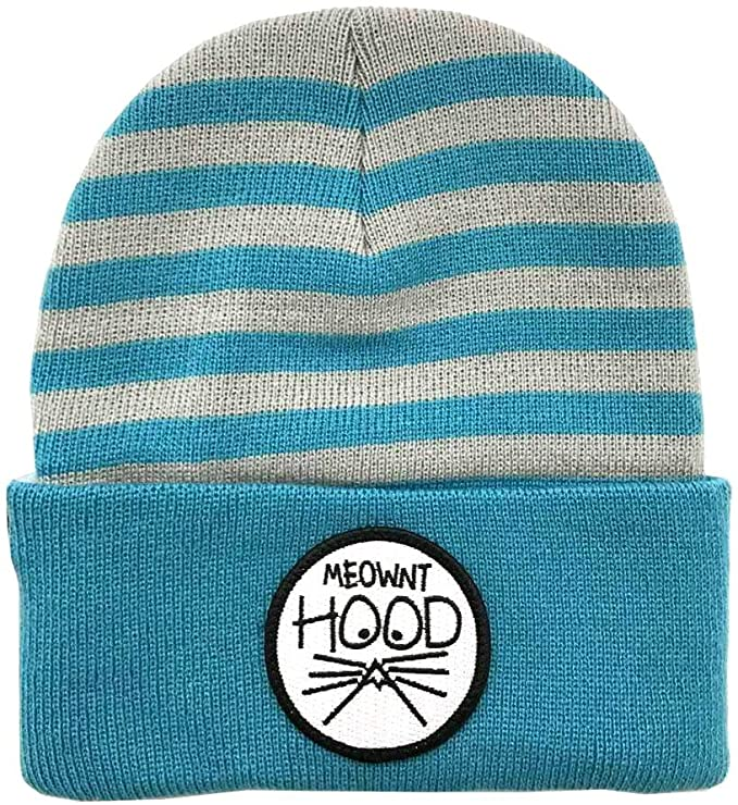 Turn cuff beanie with knitted teal and grey stripped head and solid teal cuff with Meownt Hood Patch
