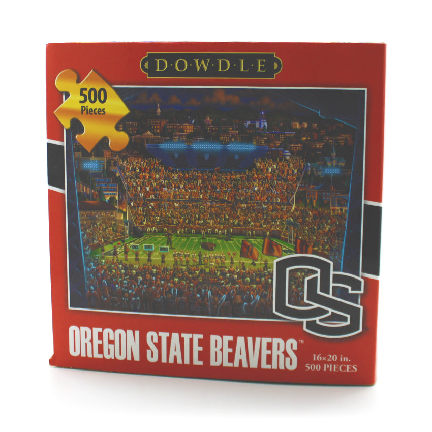 500 piece puzzle showing an illustration of the Oregon state stadium with a packed crowd.