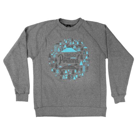 Grey Crewneck with Hello from Portland graphic bursting with trees, water falls, bikes and mount hood.