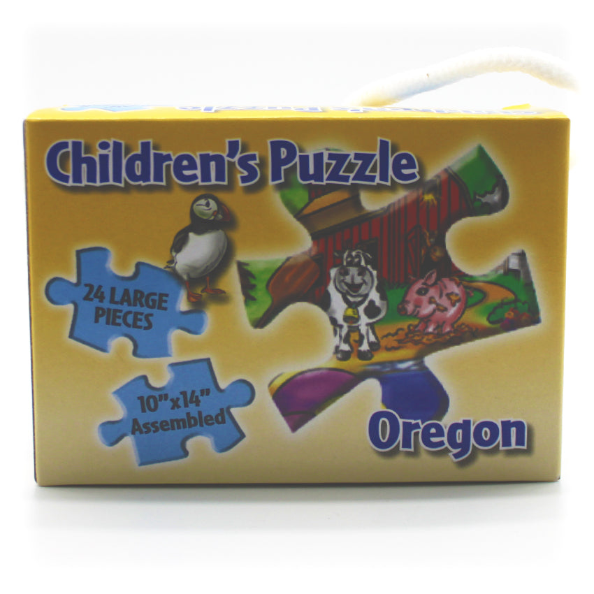 Kid's puzzle depicting the state of Oregon and some of the wonderful things about it.