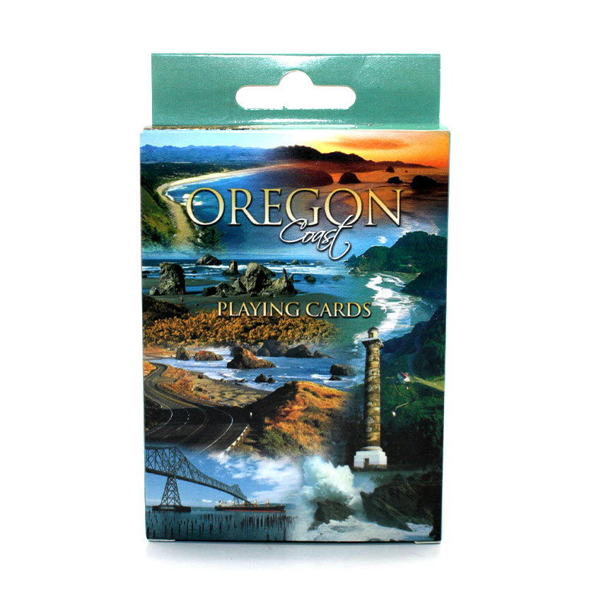 Full deck of cards depicting the coast and nature of Oregon.