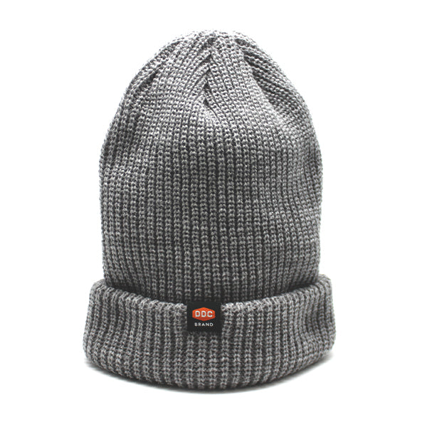 Grey knitted beanie Minimal branding and pure quality.