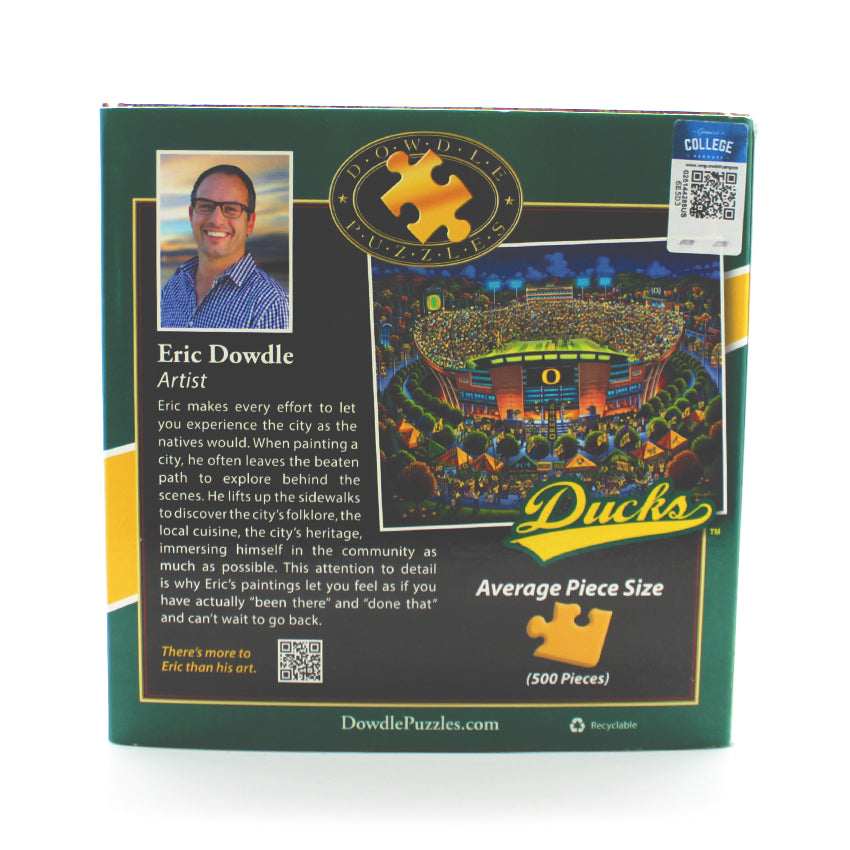 500 piece puzzle showing a painting of the Oregon Ducks Football stadium.