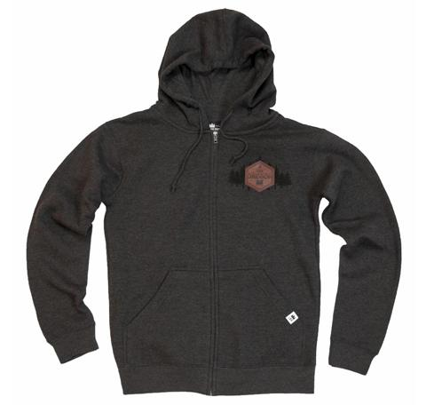 Dark Grey zip up hoodie with Hexagonal leather patch reading Explore Oregon on right corner of chest. Printed black forest graphic behind patch.