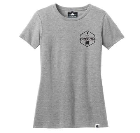 Light grey women's tee with graphic upper right corner of chest. Hexagon that reads explore Oregon and has state image.