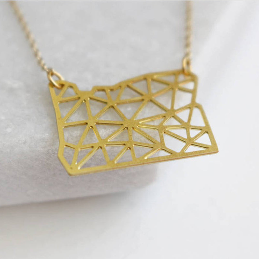 Gold Geo Oregon Necklace