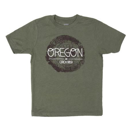 Green Kid's T-shirt with brown wooden crosscut graphic text on top reads Oregon circa 1859.