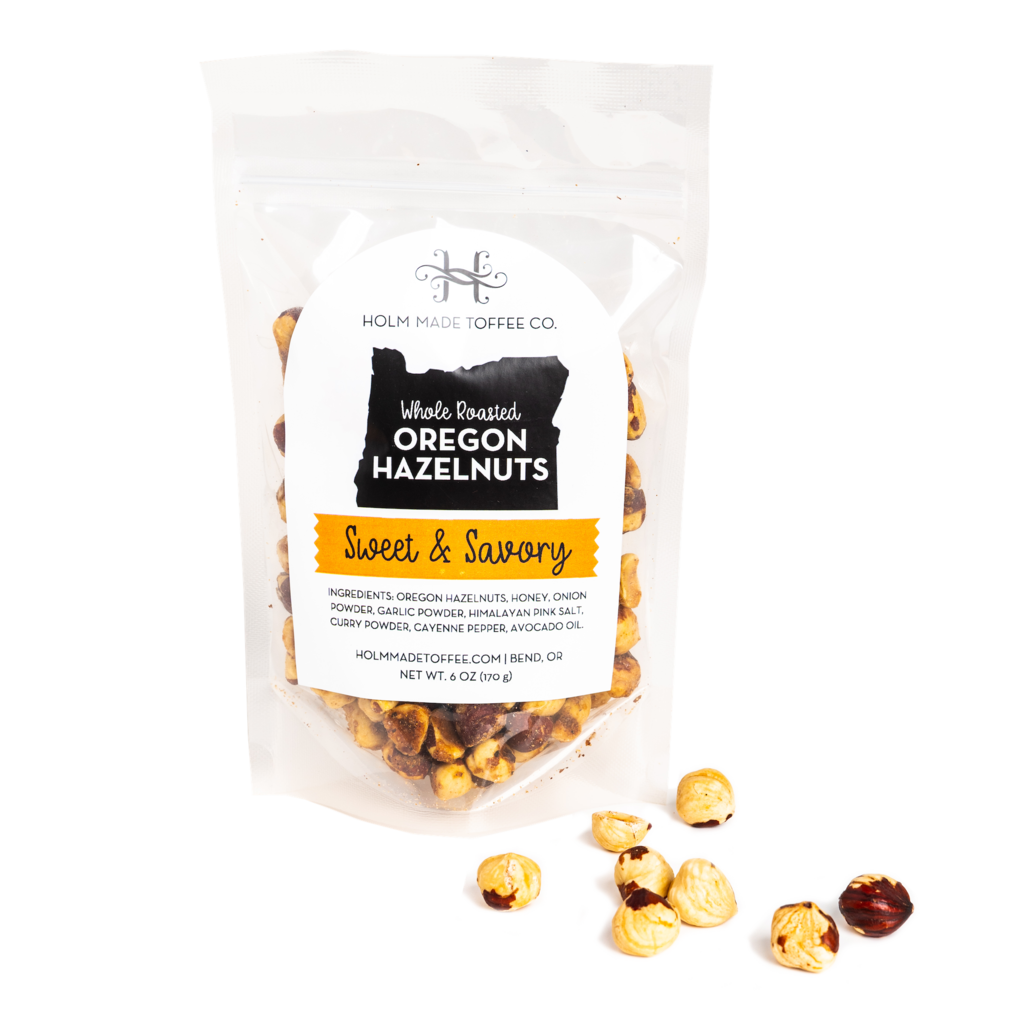 6 ounce bag of sweet and savory, whole roasted Oregon hazelnuts,
