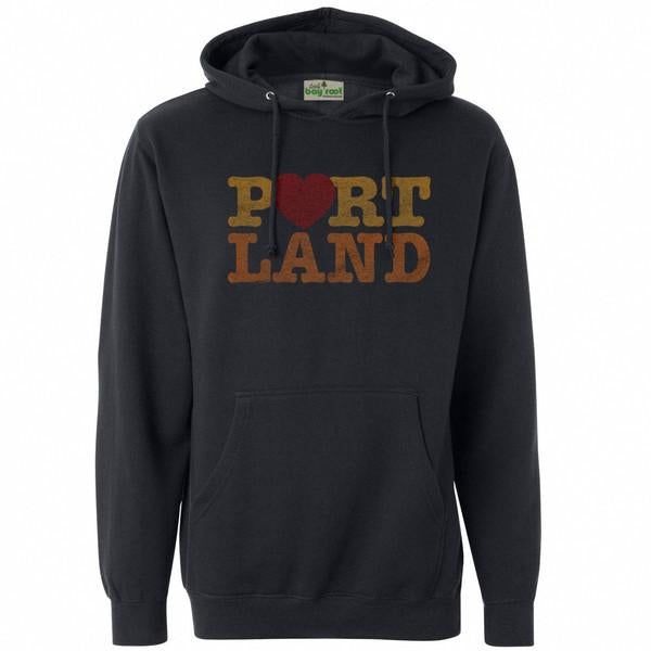 Dark Grey Pullover Hoodie reads Portland. Text is stack Port then Land. O is a heart. In a I heart Portland, I love Portland motif.
