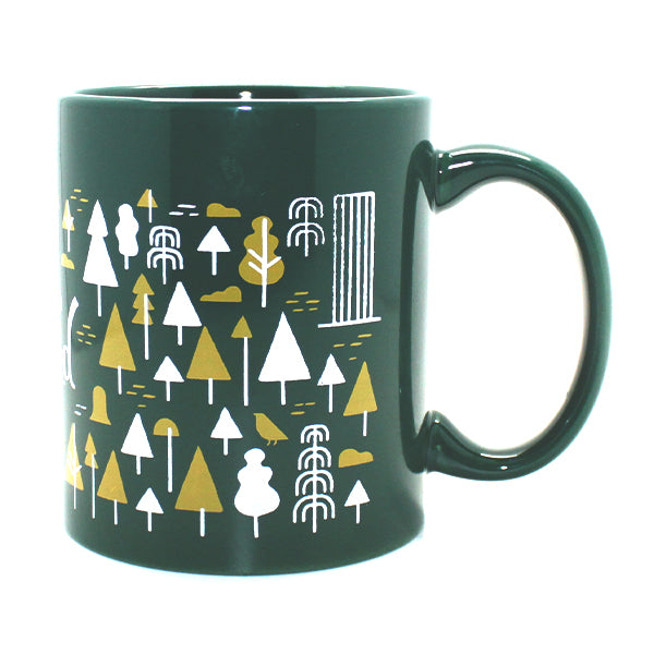 "Green and yellow Mug with out popular Portland pattern featuring trees, bikes, rain and some of Portland's famous buildings wrapping around the entire mug. Displayed in the center is our logo ""Hello From Portland""."