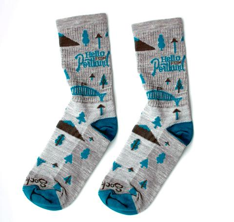 Warm Woolen socks in light grey color with blue trees, waterfalls, bridges and Mount Hood.