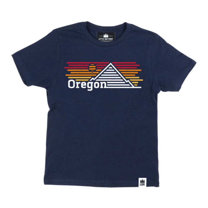 Kid's Navy T-shirt with graphic of mountain and sunset made up of horizontal lines. Reads Oregon on the left corner of design.