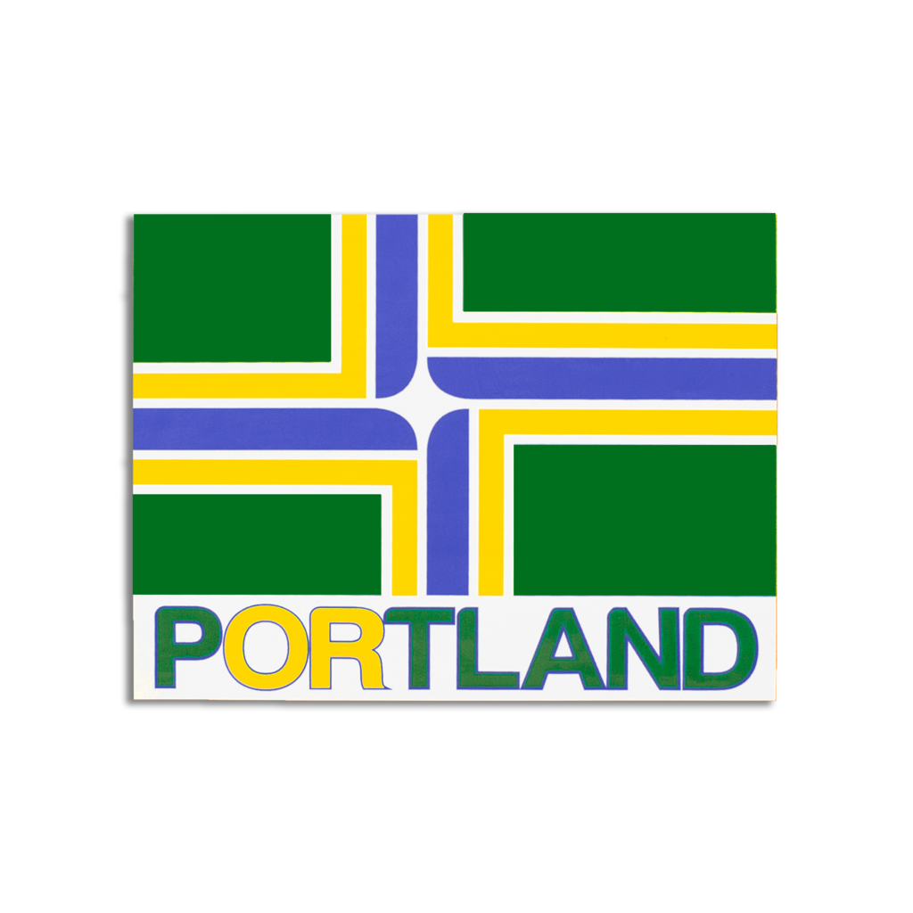 Rectangle sticker with the Portland flag and the word Portland underneath.