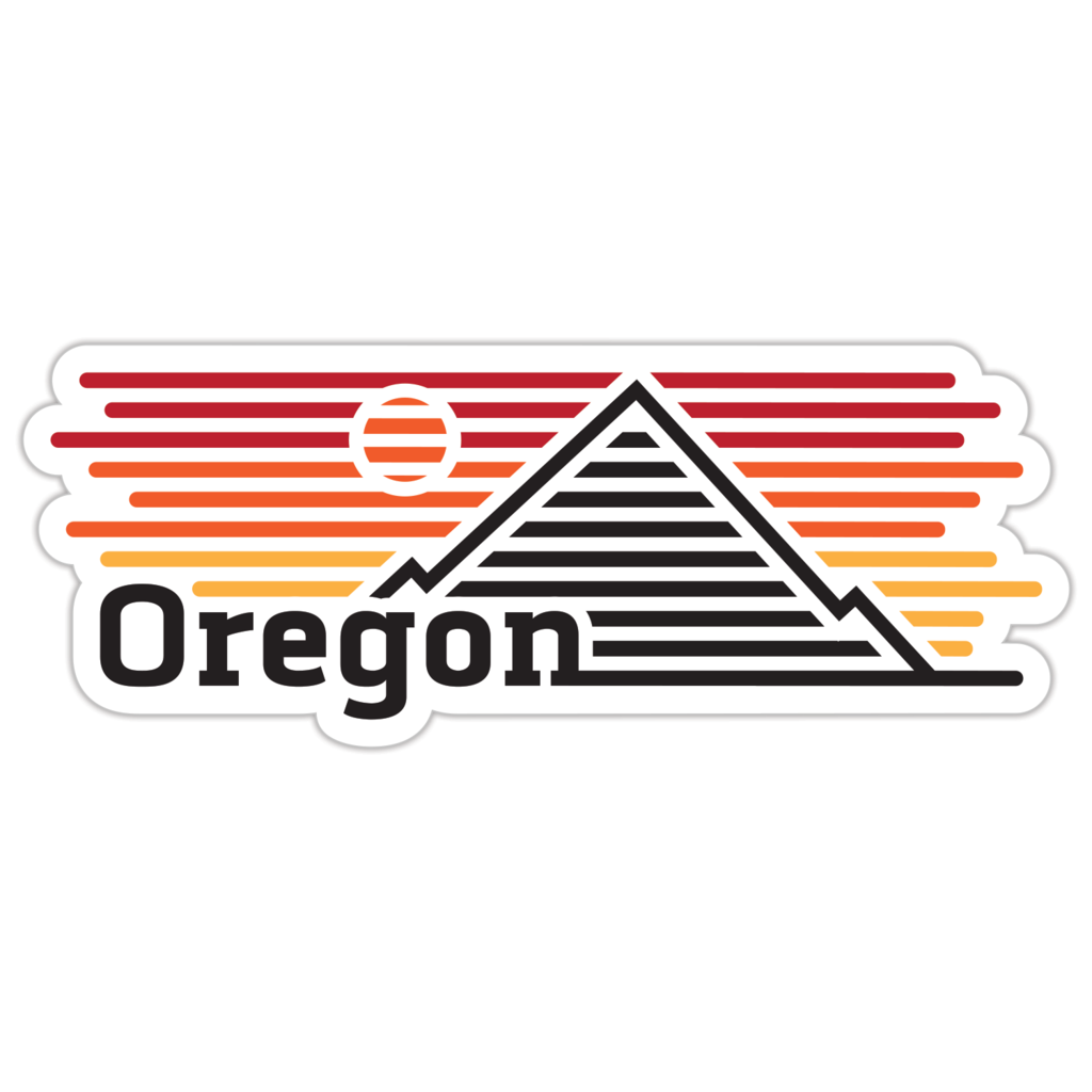 Long sticker that reads Oregon on the bottom left hand side. Behind it is a mountain and the sun, and a yellow, orange and red gradient sky.