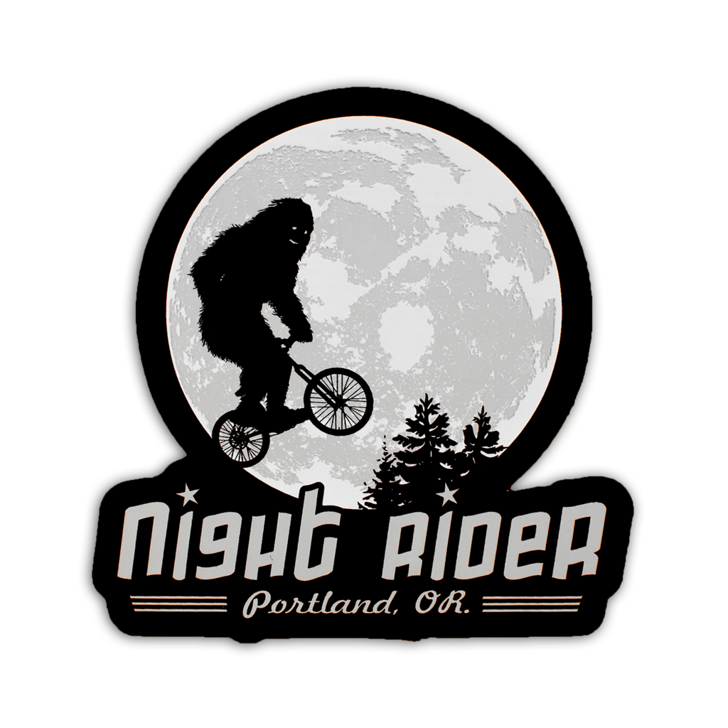 Black sticker with sasquatch riding a bike through the air in front of the moon. Underneath it reads Night Rider, Oregon, USA.