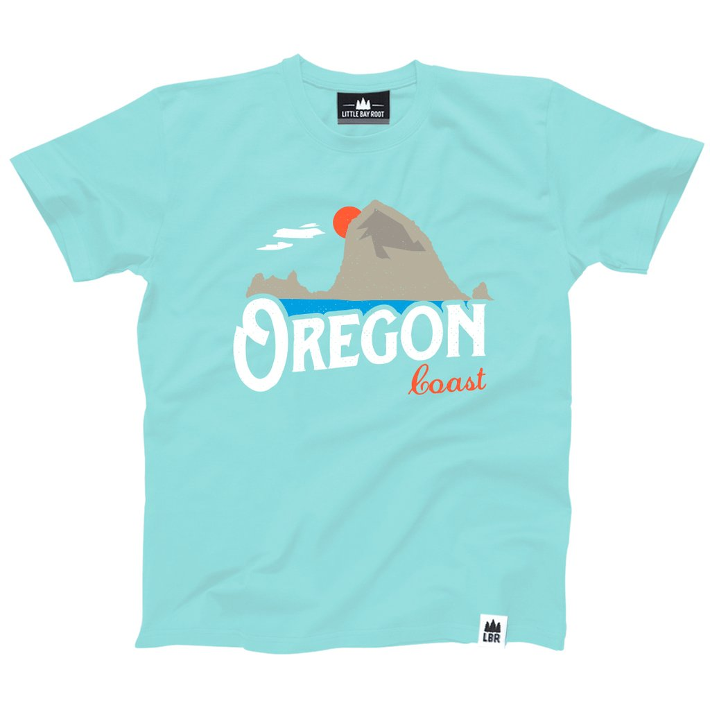 Light blue Kid's T-shirt with graphic of Haystack Rock and text below that reads Oregon Coast.