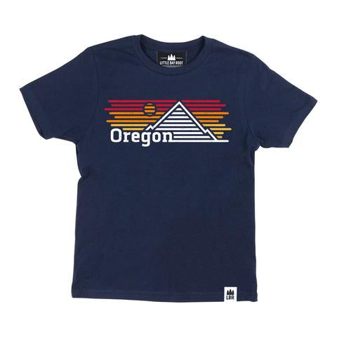 Navy Blue Kid's Tee with graphic of mountain and sunset made of horizontal lines. Reads Oregon on bottom left of graphic.