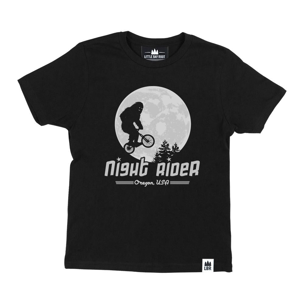 "Dark Grey Kid's T-Shirt with Graphic of Sasquatch riding a bike in the moonlight al la ET. Text says ""Night Rider Portland Or""."