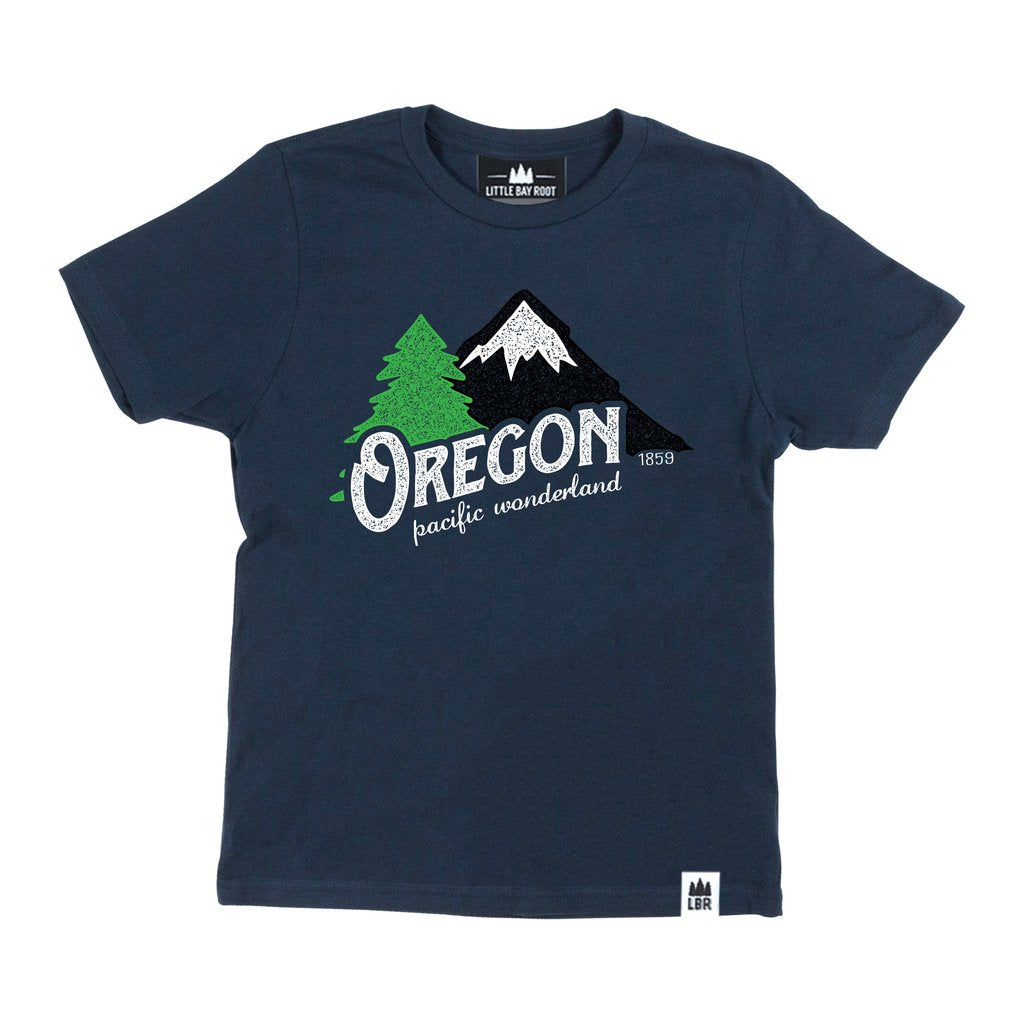 Navy Kid's T-shirt with graphic Oregon Pacific Wonderland 1859. Image behind text is of a Mountain and tree.