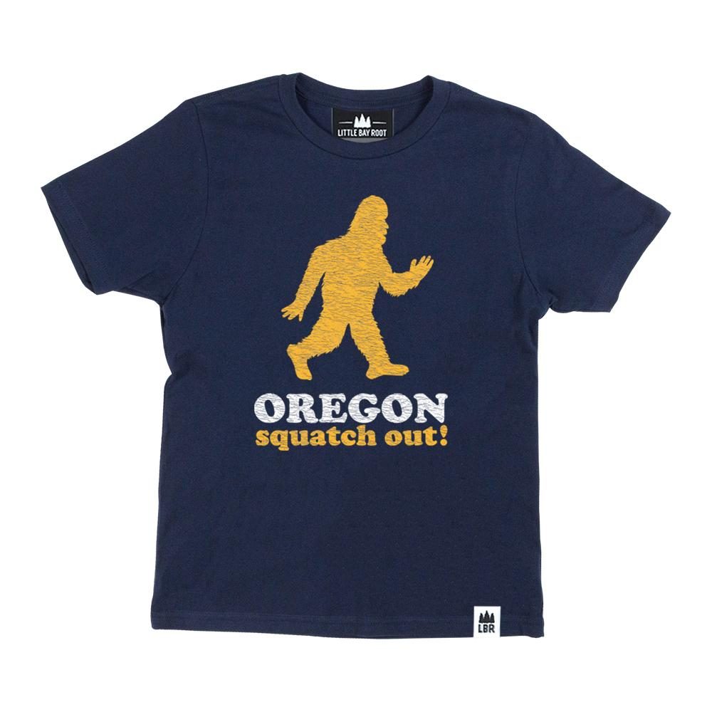 Blue Youth's T-shirt with graphic of Sasquatch running reads Oregon Squatch Out below.
