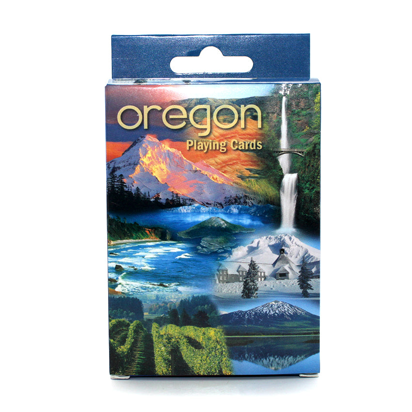 Full deck of cards depicting the mountains and nature of Oregon.