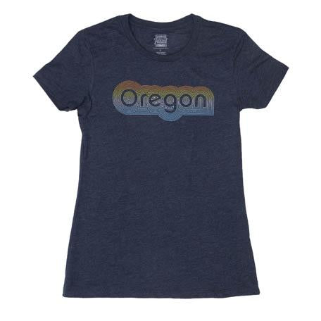 Navy Women's T-shirt with gradient lettering shifting from Orange to Light Blue reads Oregon. Contouring lines.
