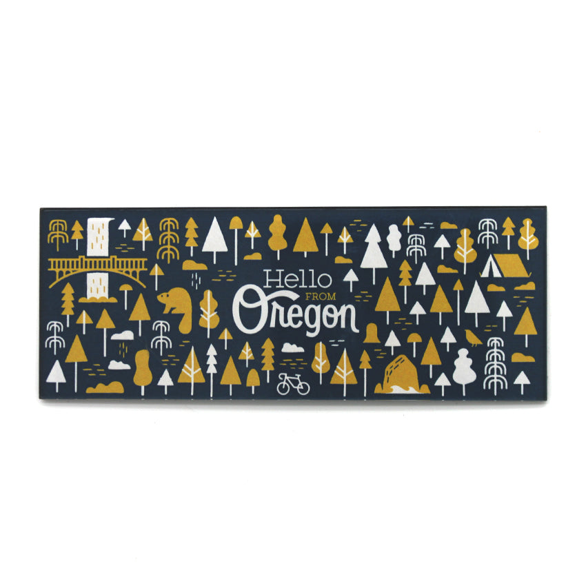 Navy Rectangle magnet with our popular Oregon patter featuring trees, animals, camping and multnomah falls. In the center it reads Hello From Oregon.