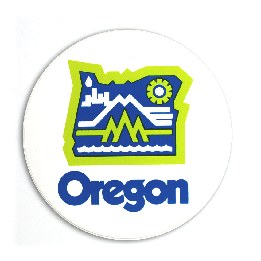 White sticker with a green and blue graphic, with the state of Oregon inside of it. Inside of that are graphics of mountains, water, buildings and rain. Underneath it reads Oregon.