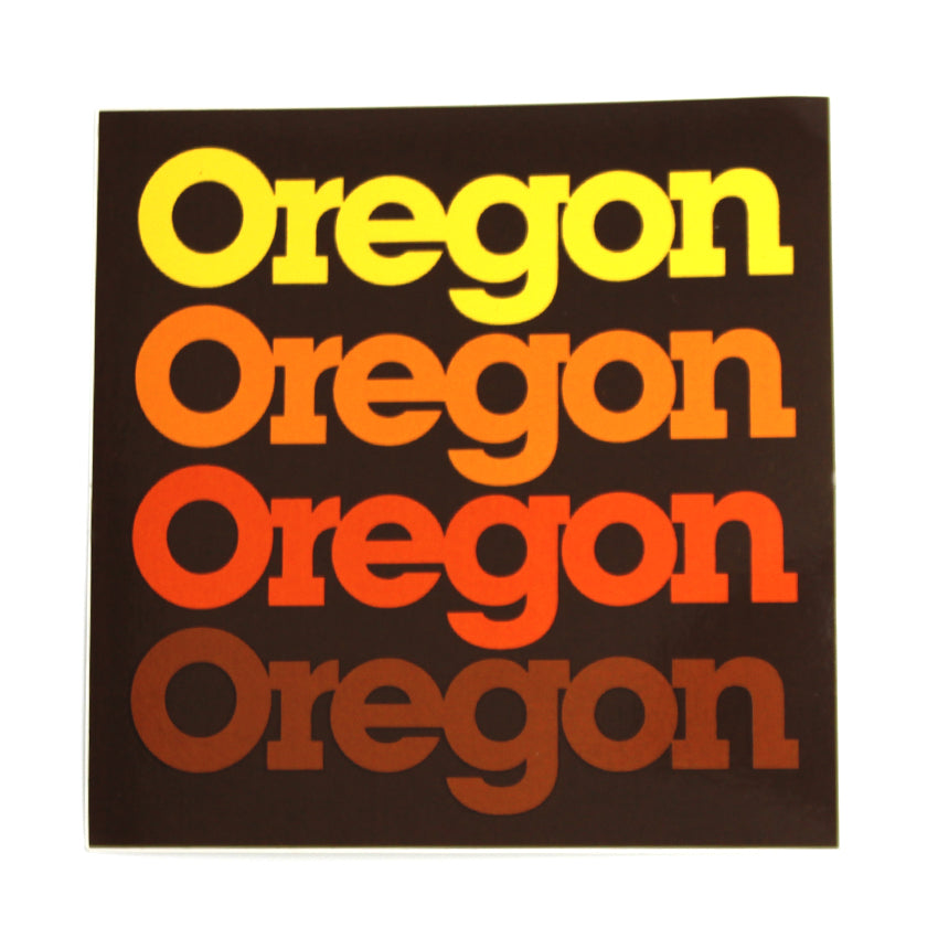 Black and orange rectangle sticker with the word Oregon stacked on top of each other in a gradient from yellow to orange.