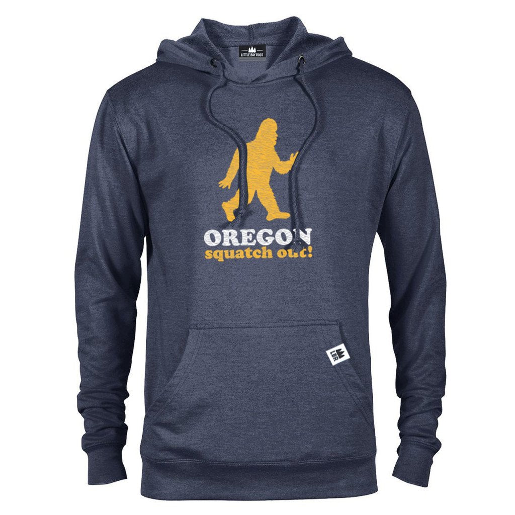 Blue Pullover Hoodie of Sasquatch running reads Oregon Squatch Out below.
