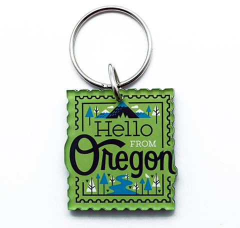 Oregon Stamp Keychain