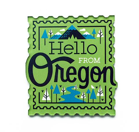 Blue and yellow magnet of our popular Oregon Logo.